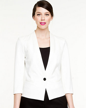 Ponte Knit Collarless Blazer