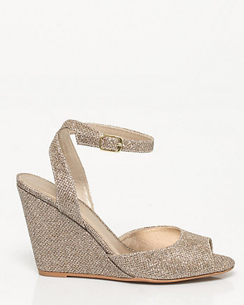 Metallic Peep Toe Wedge