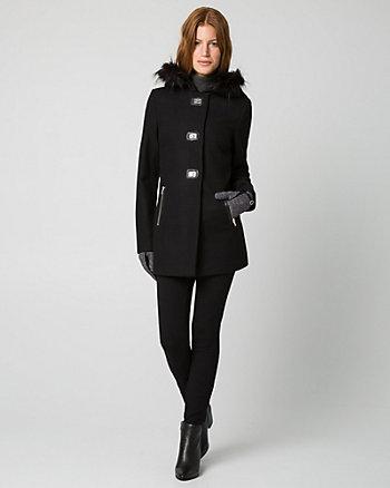 Melton Faux-Fur Trim Coat
