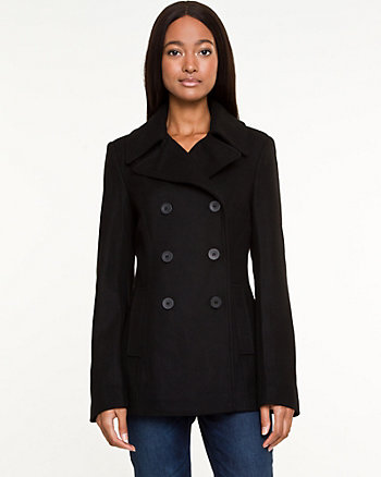 Wool Blend Melton Pea Jacket