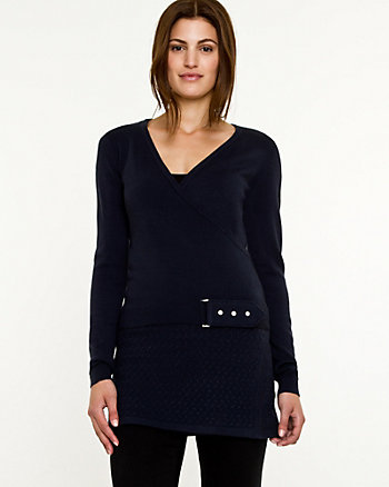 Knit Faux-Wrap Belted Sweater