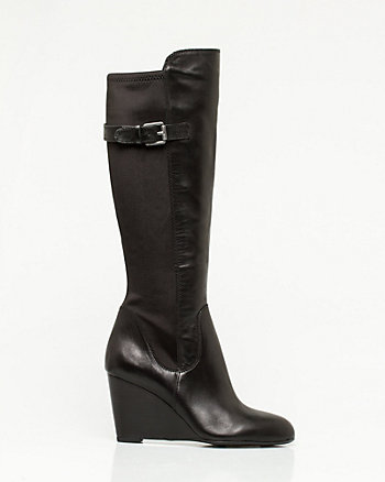 Leather Knee-High Wedge Boot
