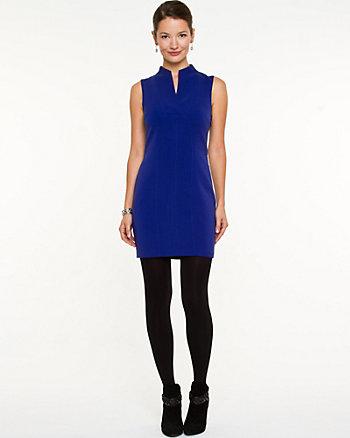 Double Weave Split V-Neck Mini Dress