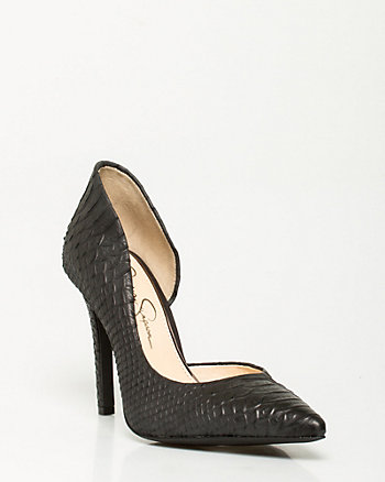 Snake Embossed Pointy Pump
