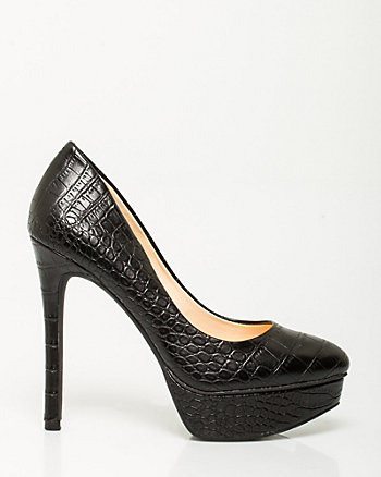 Leather Croc Embossed Platform Pump