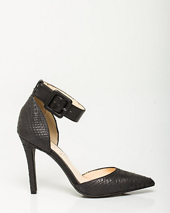 Leather Ankle Strap Pointy Pump