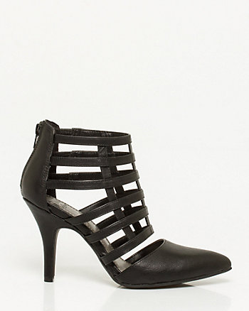 Leather-Like Caged Pointy Pump