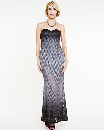 All-over Shimmer Chevron Gown