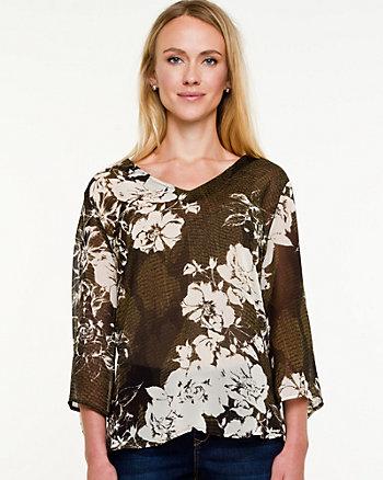 Floral Print V-neck Blouse