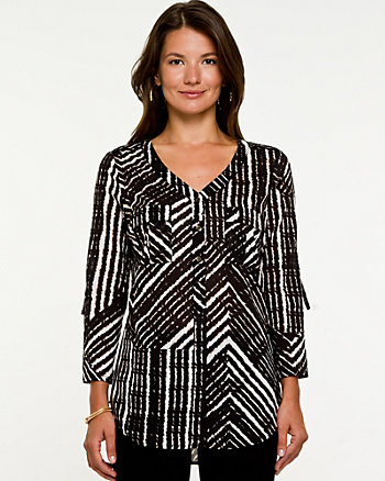 Printed Voile V-Neck Blouse