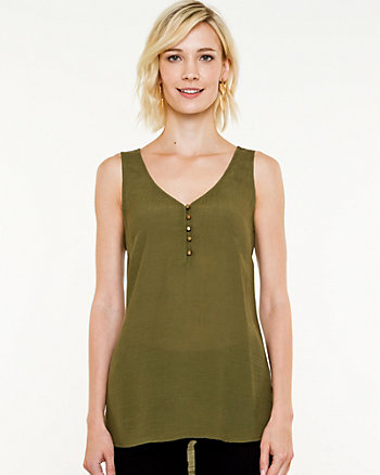 Gauze V-neck Sleeveless Blouse