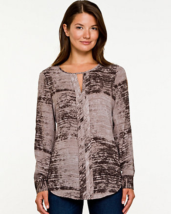 Brush Stroke Print Blouse