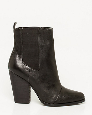 Leather Block Heel Ankle Boot