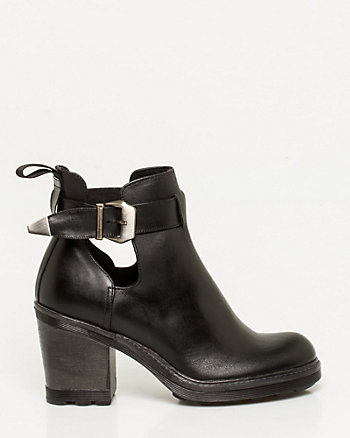 Italian-Made Leather Cutout Bootie