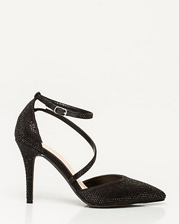 Jewel Satin Asymmetrical Pump