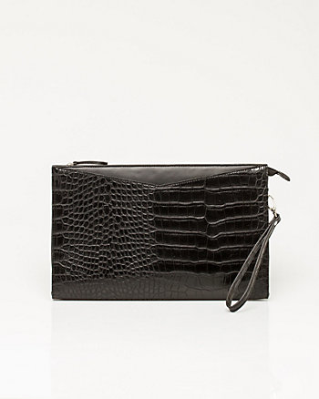 Leather-like Crocodile Embossed Wristlet