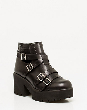 Italian-Made Leather Platform Bootie