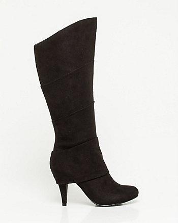 Pleated Almond Toe Knee-High Boot