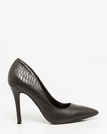 Snake Embossed Pointy Toe Pump