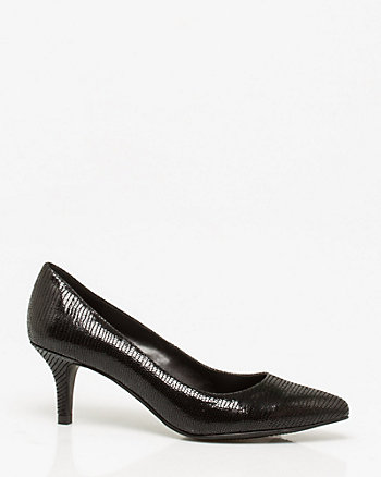 Textured Leather Pointy Toe Pump