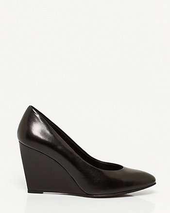 Leather Pointy Toe Wedge