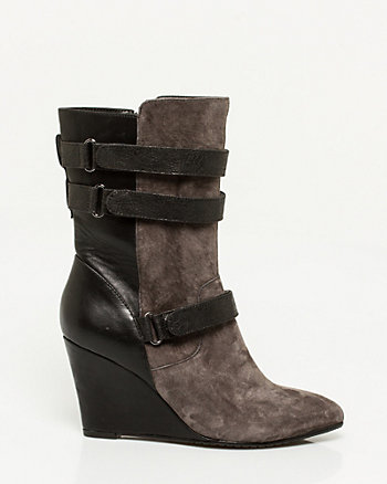Suede & Leather-Like Wedge Boot