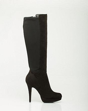 Suede-Like Knee-High Platform Boot