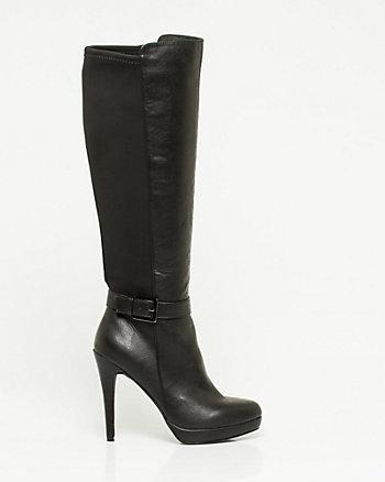 Leather-Like & Elastic Knee-High Boot