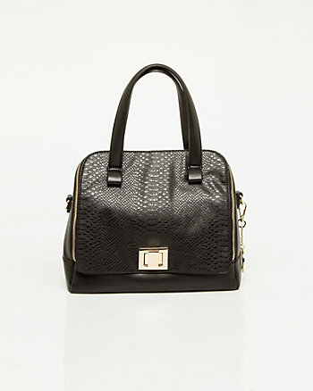 Leather-like Lizard Embossed Satchel