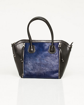Pony-hair & Leather-like Tote
