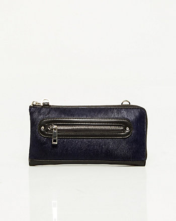 Pony-hair & Leather-like Wallet