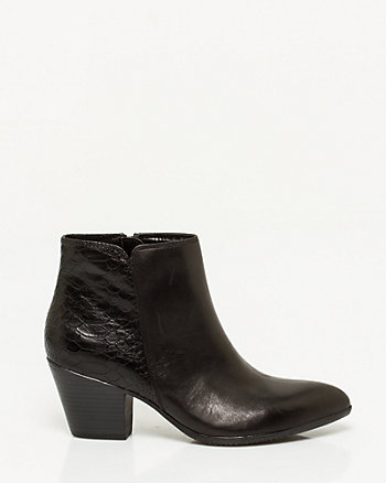 Snake Print Leather Block Heel Ankle Boot