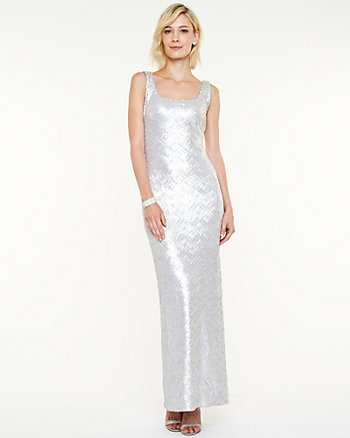 Sequin Scoop Neck Gown