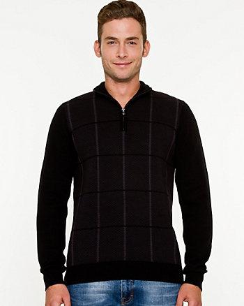 Check Print Cotton Zip-up Sweater