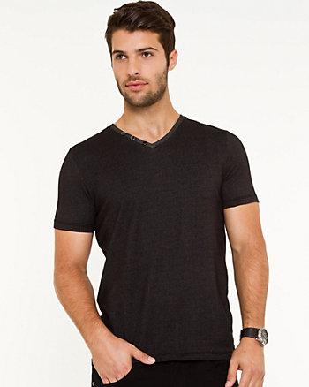 Cotton Blend V-Neck T-Shirt