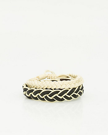Leather & Cotton Braided Bracelet