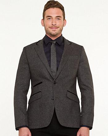 Wool Blend Tonal Slim Fit Blazer