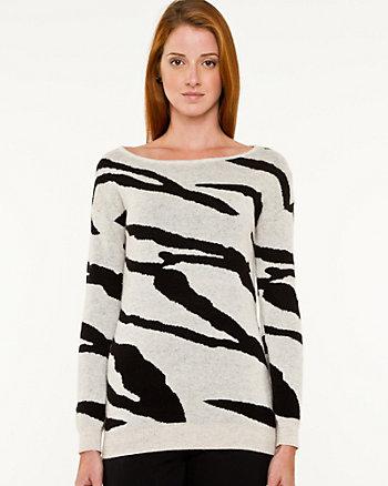 Wool Blend Zebra Print Sweater