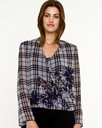 Check Chiffon 3/4 Sleeve Blouse