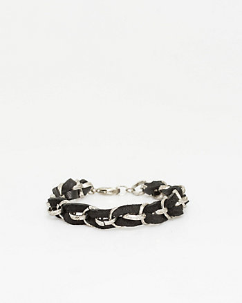 Metal & Leather Braided Bracelet