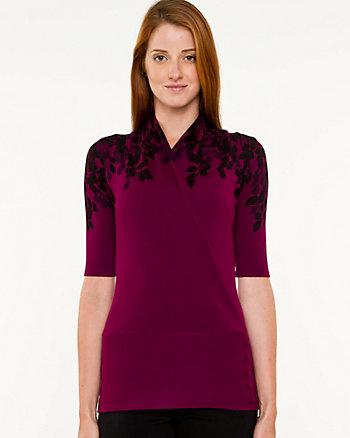 Knit Floral Print Faux-Wrap Sweater