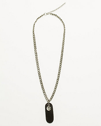 Metal & Leather Tag Pendant Necklace