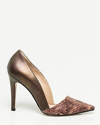 Italian-Made Snake Print Leather Pump