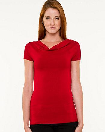 Knit Cowl Neck T-shirt