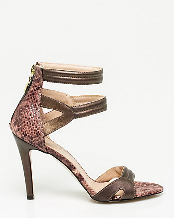Italian-Made Snake Print Leather Sandal