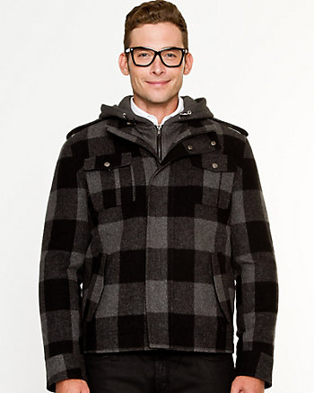 Wool Blend Check Hooded Mailman Coat