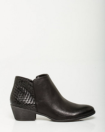 Leather-Like Quilted Ankle Boot