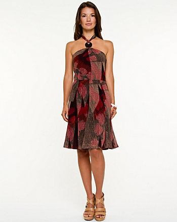 Abstract Halter Fit & Flare Dress