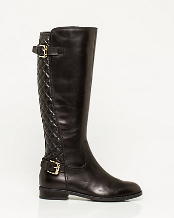 Quilted Leather Knee High Boot
