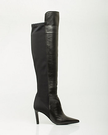 Leather Knee High Pointy Toe Boot